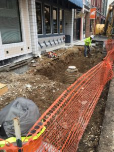 Sidewalks being removed on the north side of 4th through 5th Street