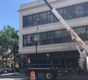 Light Pole Being Installed on Main Street