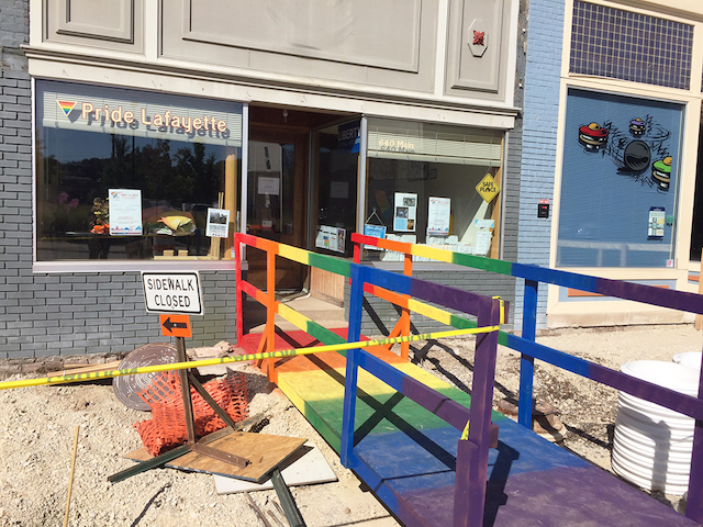What construction?! All we're looking at is Pride Lafayette's beautiful storefront bridge!
